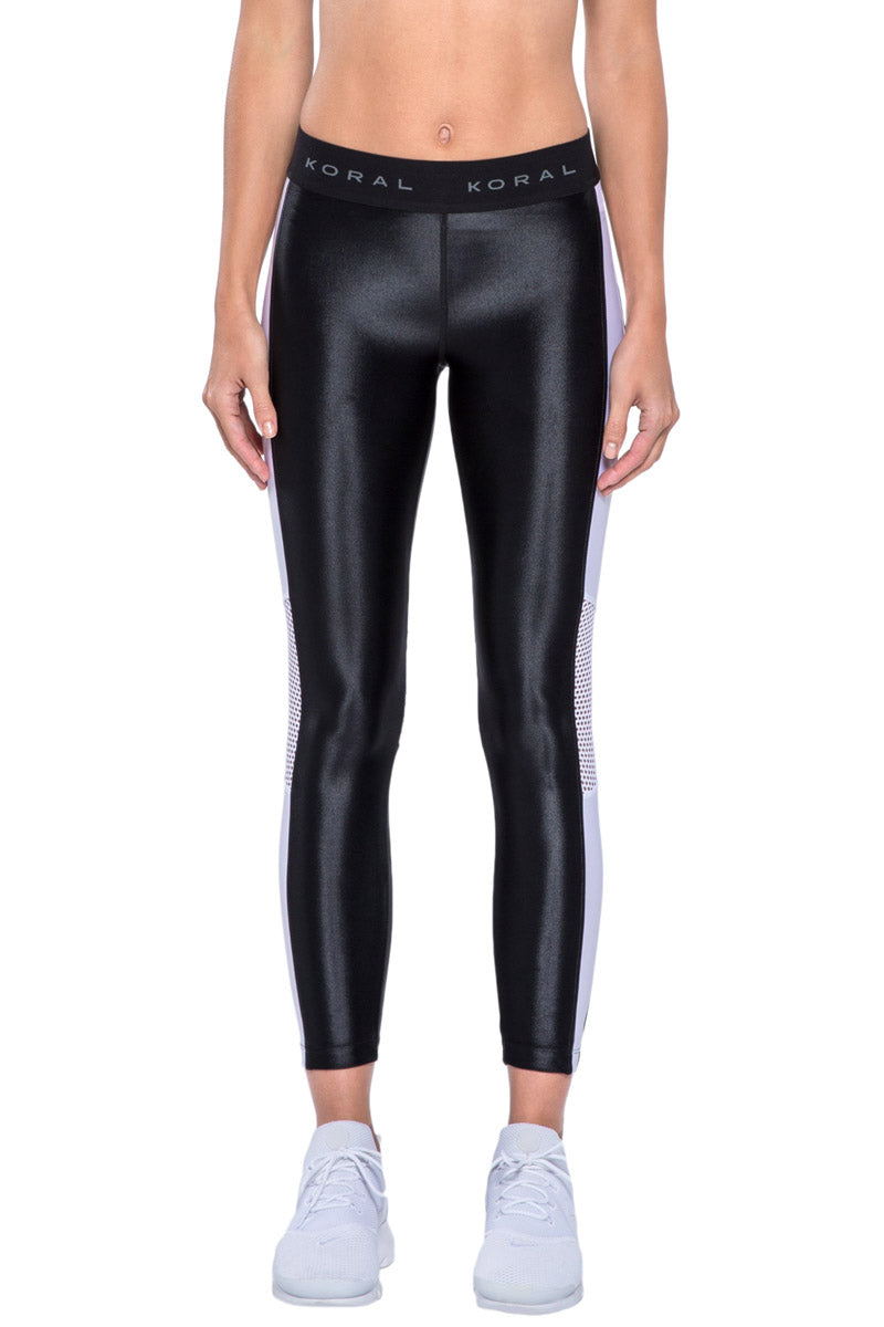 Emblem Color Block Mesh Cropped Leggings - Black/White