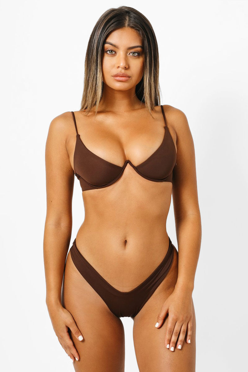 Mia V Wire Bikini Top - Chocolate Brown