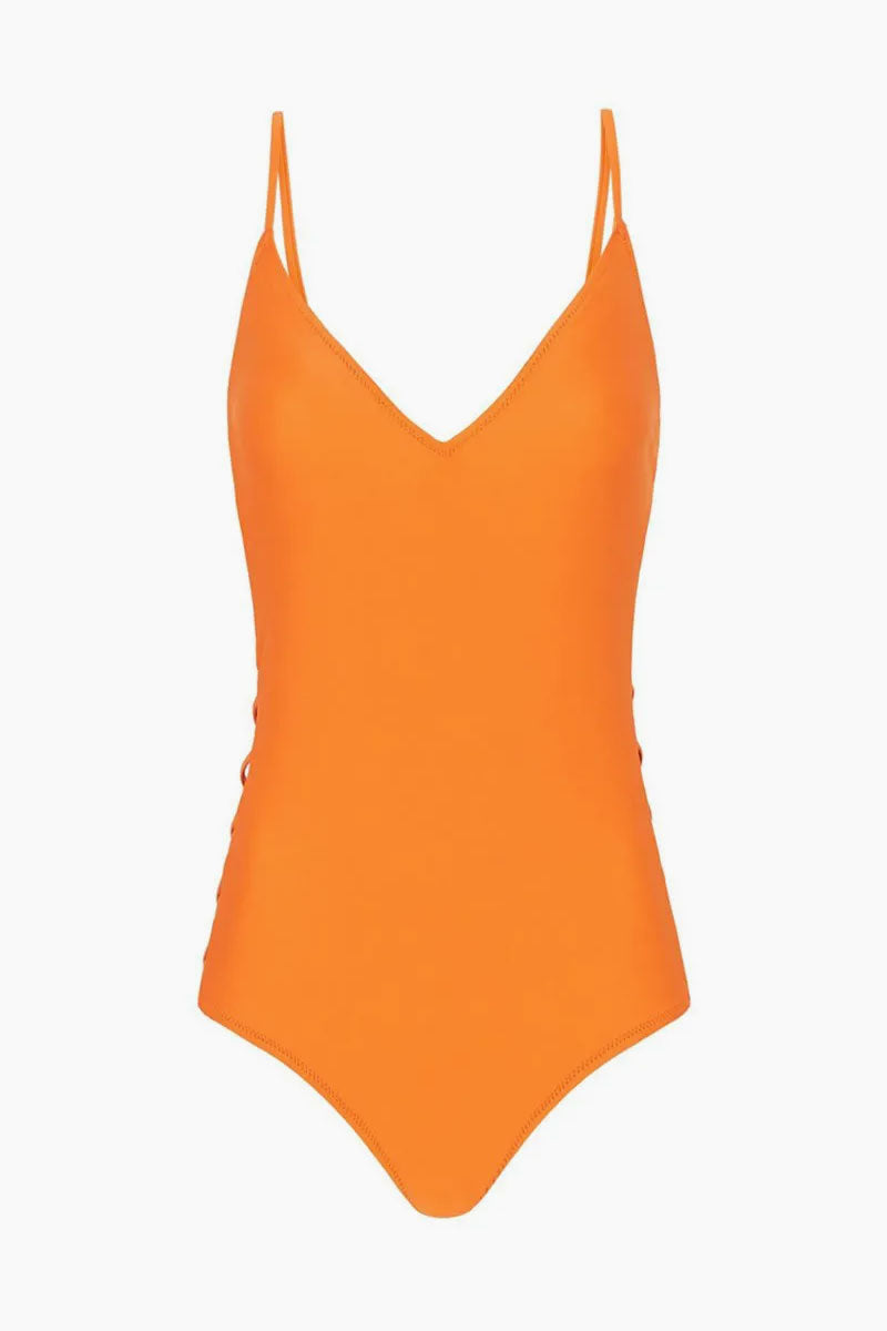 Lleo Criss Cross Sides One Piece Swimsuit - Citrus Orange