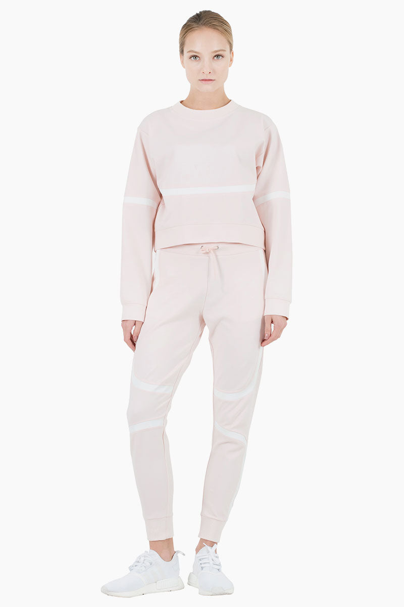 Greenville Striped High Waisted Drawstring Sweatpants - Blush Pink