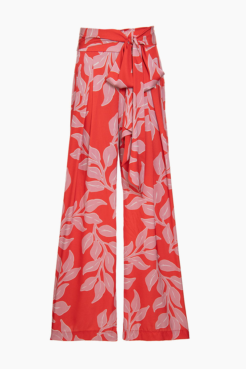 Wide Leg Pant - Hot Pink Leaf Print