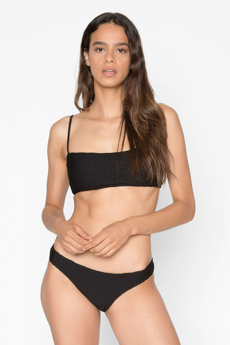 Laui Ribbed Back Tie Bikini Top - Onyx Black