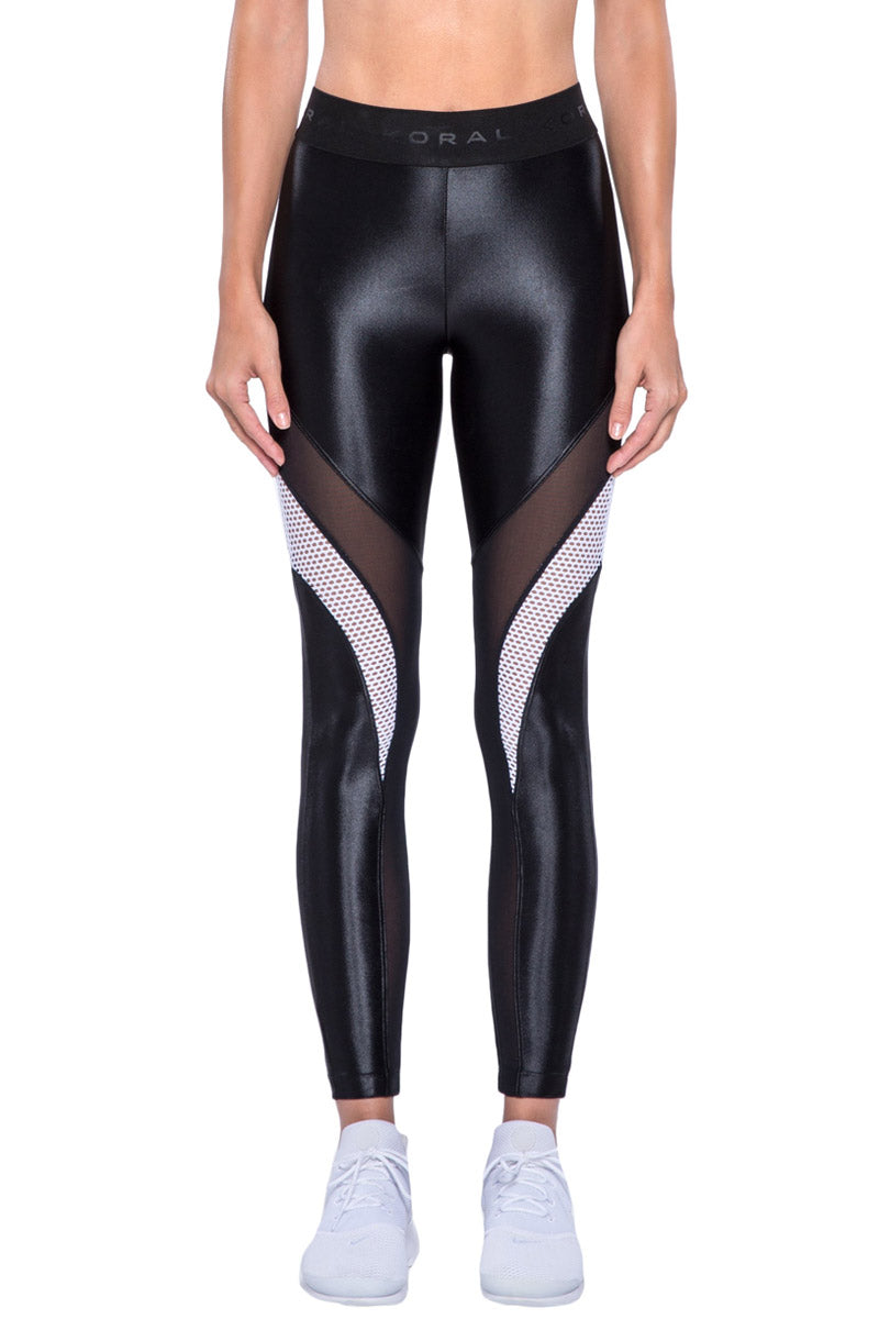 Frame Mesh Panel High Waist Leggings - Black/White