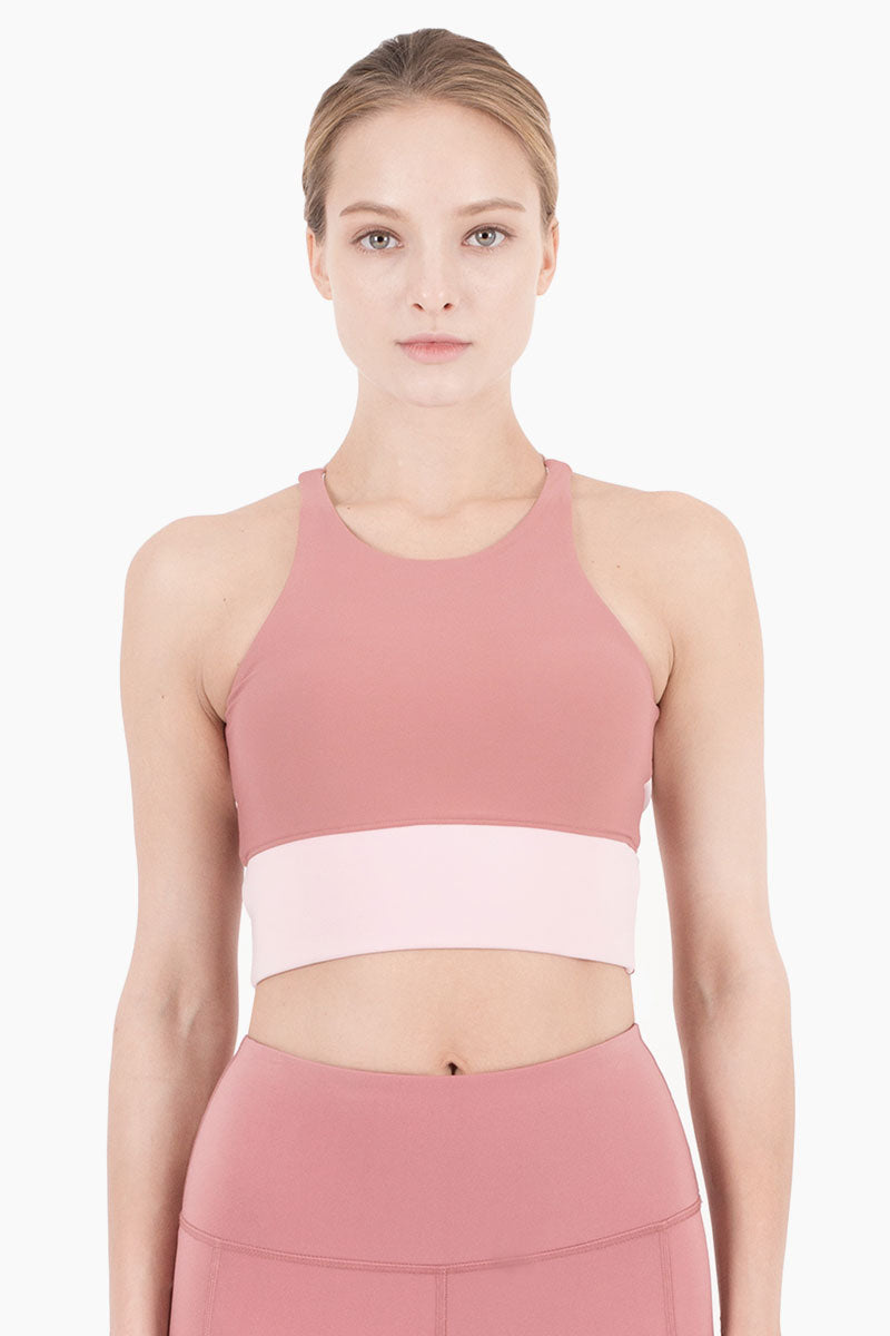 Aria Color Block Cropped Sports Bra - Dusty Pink/Peony Pink