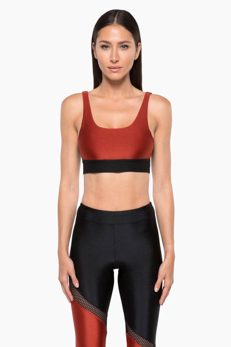 Inner Sprint Color Block V Back Sports Bra - Rouge Red/Black