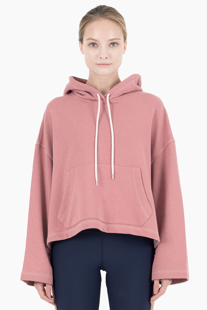 Mila Hooded Long Sleeve Drawstring Sweatshirt - Dusty Pink