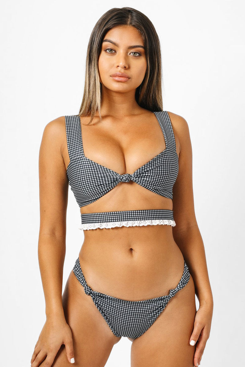 Charlotte Knot Cut Out Bikini Top - Black & White Houndstooth Print