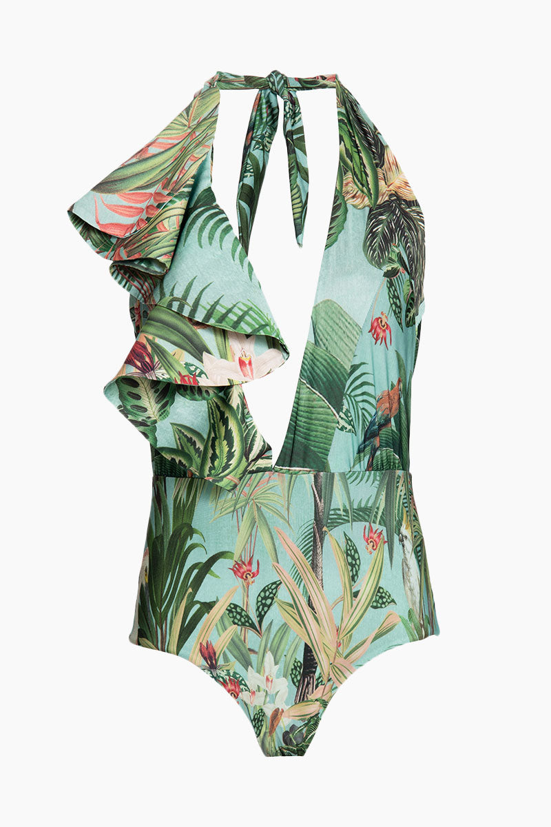 Halter Ruffle Side Plunging One Piece Swimsuit - Blue Paradise Print