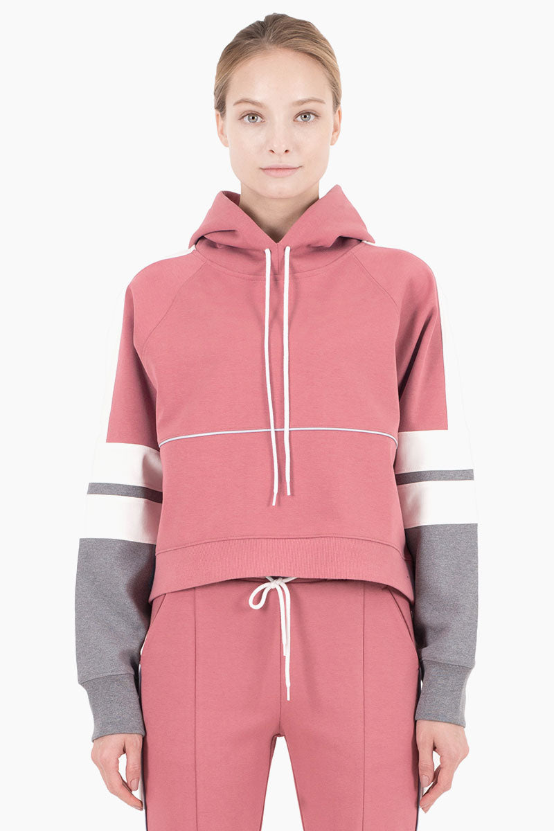 Carson Color Block Hooded Drawstring Sweatshirt - Dusty Pink/White/Heather Gray
