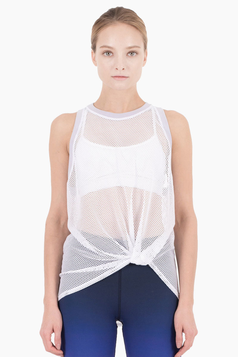 Ethan Front Knot Tank - White/Lilac