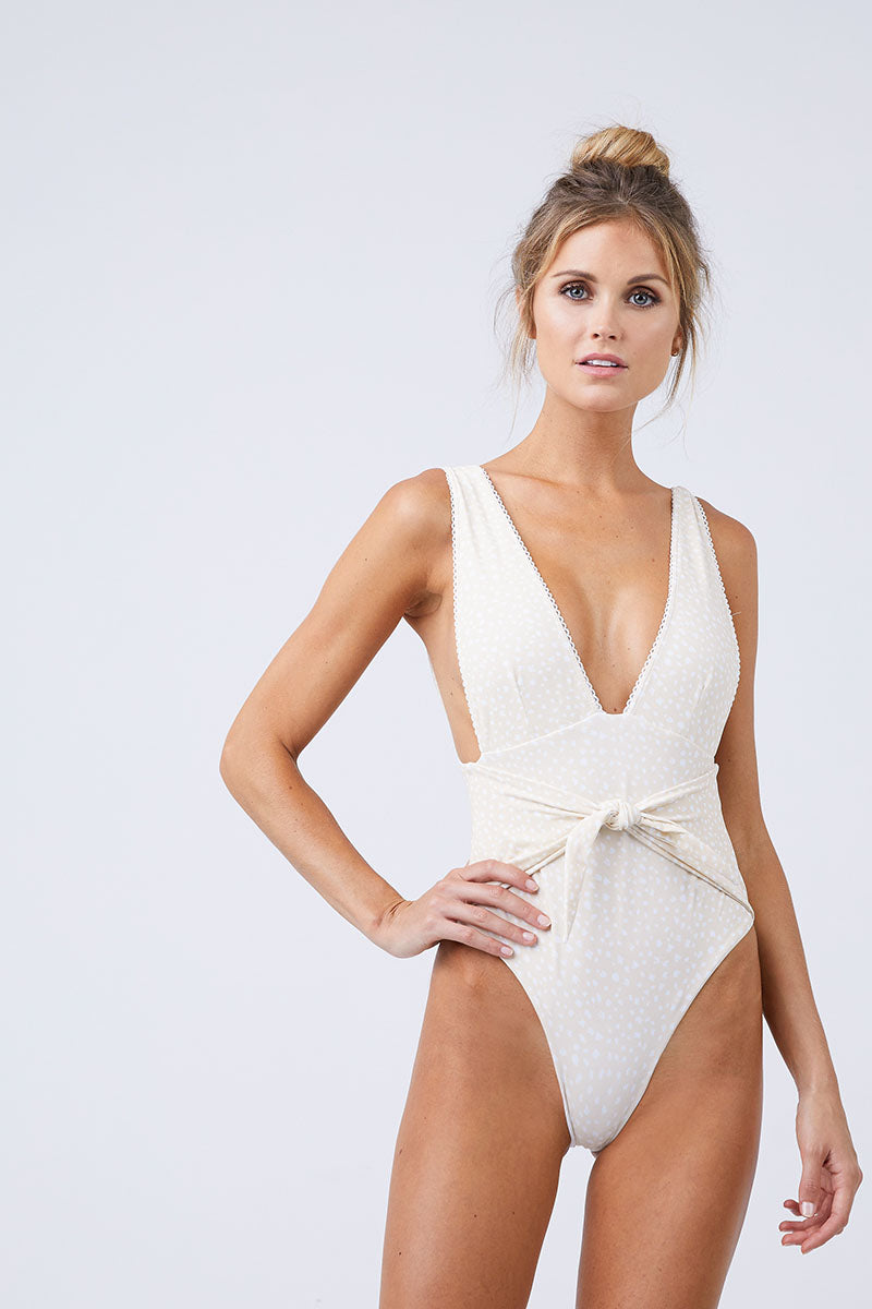 Plunging Front Tie One Piece Swimsuit - Sand White Speckled Print