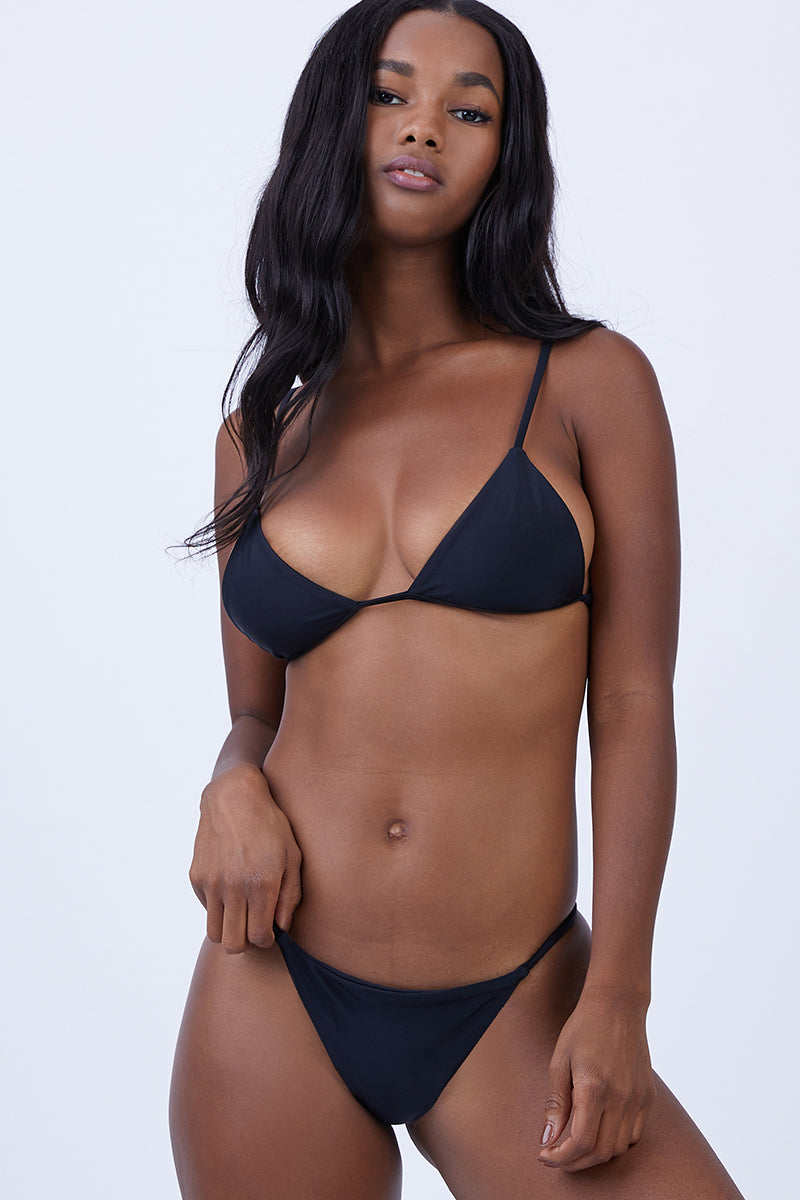 Dawn Strappy Back Bikini Top - Black