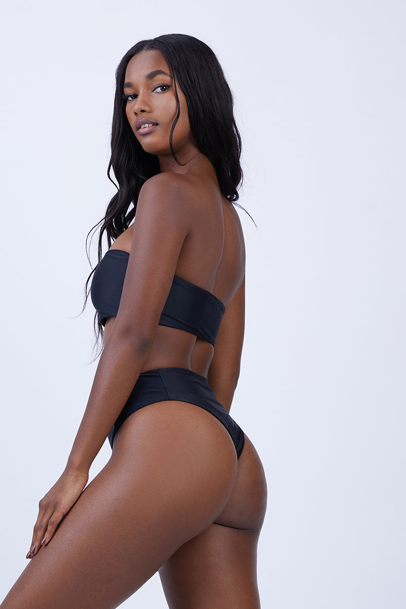 Benson High Waist Bikini Bottom - Black
