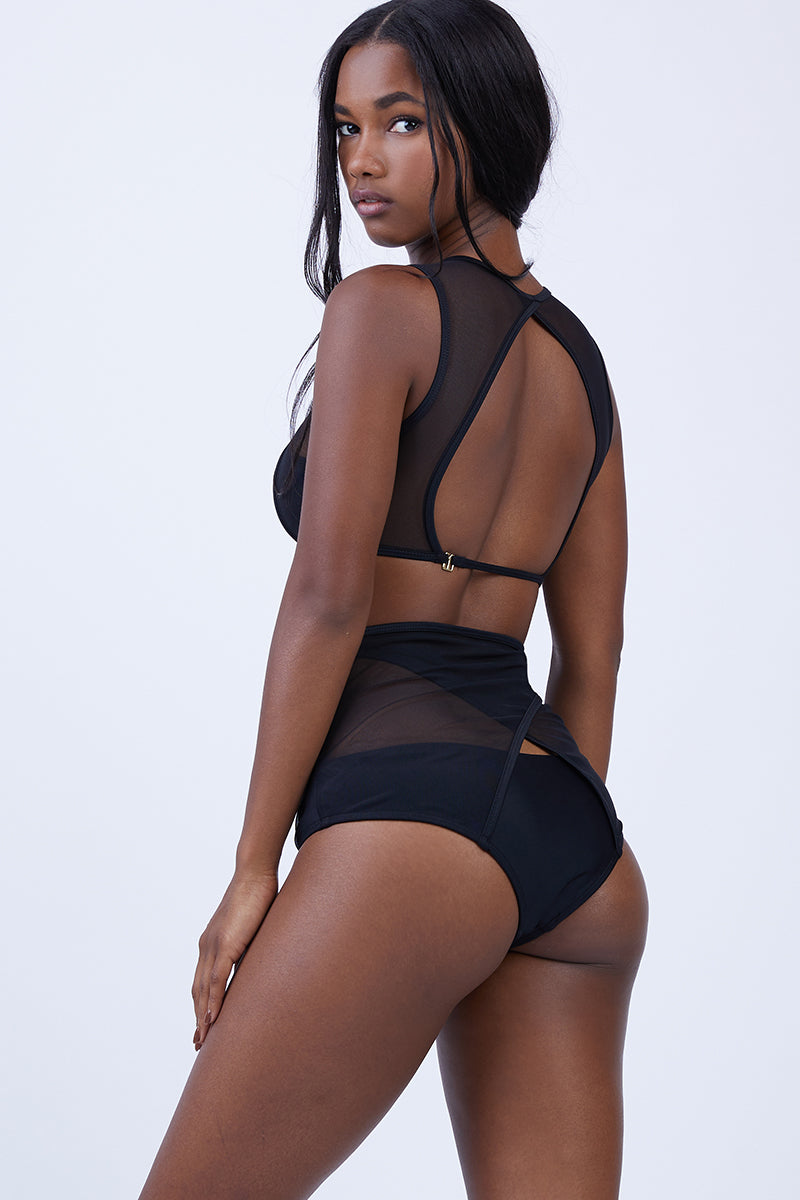 Caiman Mesh High Waist Bikini Bottom - Black