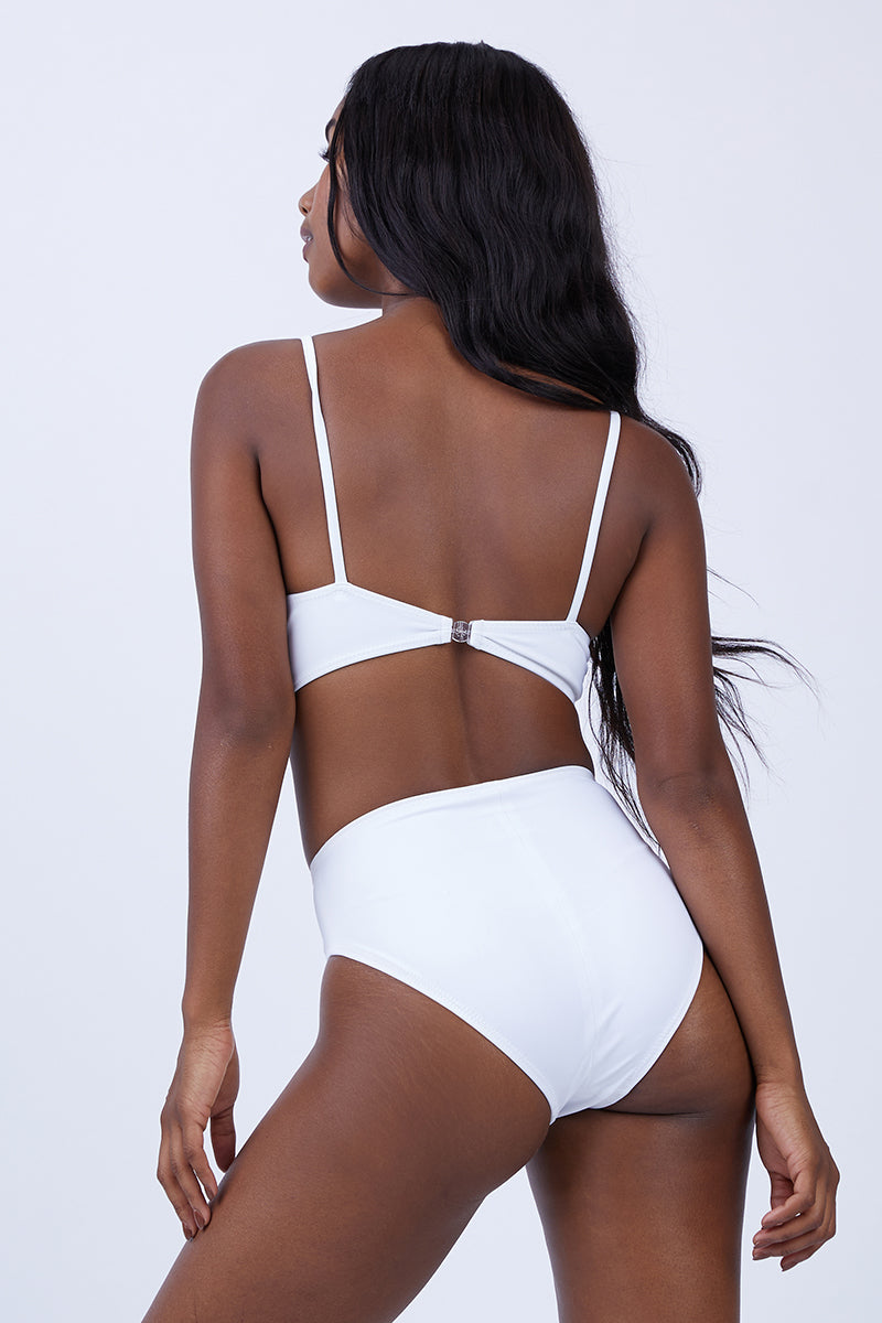 Luca High Cut Bikini Bottom - White