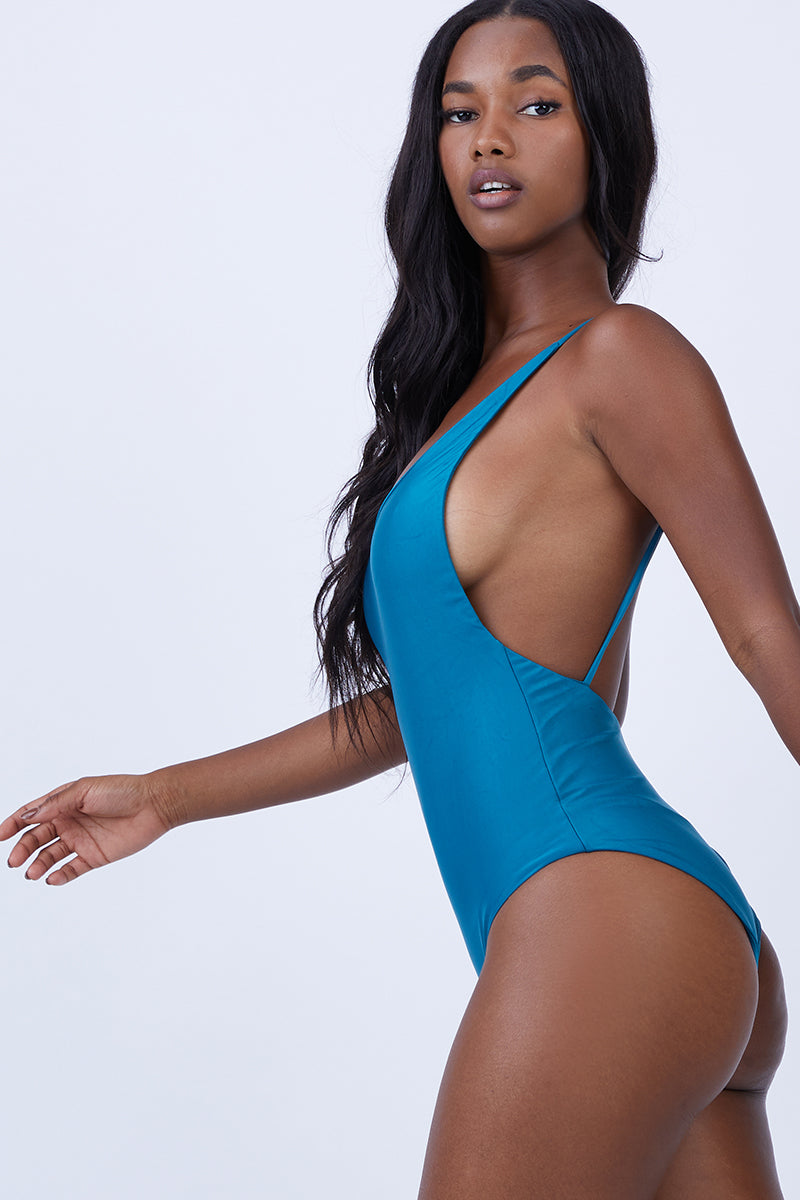 df7f793197 HAIGHT Thin Strap Maillot One Piece Swimsuit - Blue Topaz - undefined  undefined ...