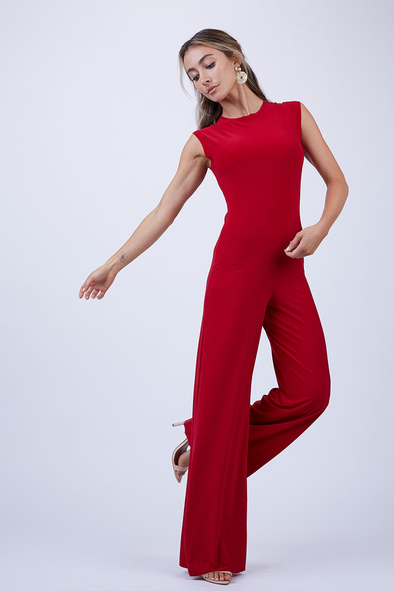 Sleeveless High Crewneck Jumpsuit - Red