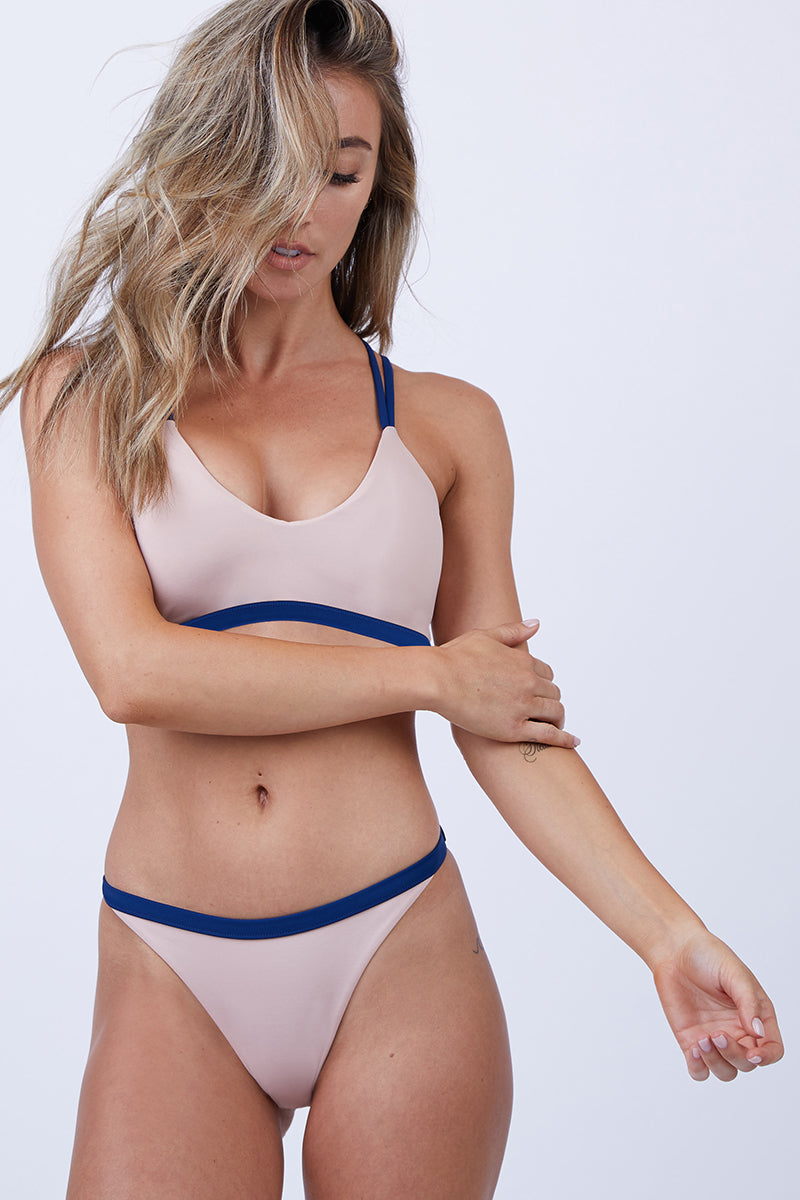 Bailey Strappy Bikini Top - Royal/Tan