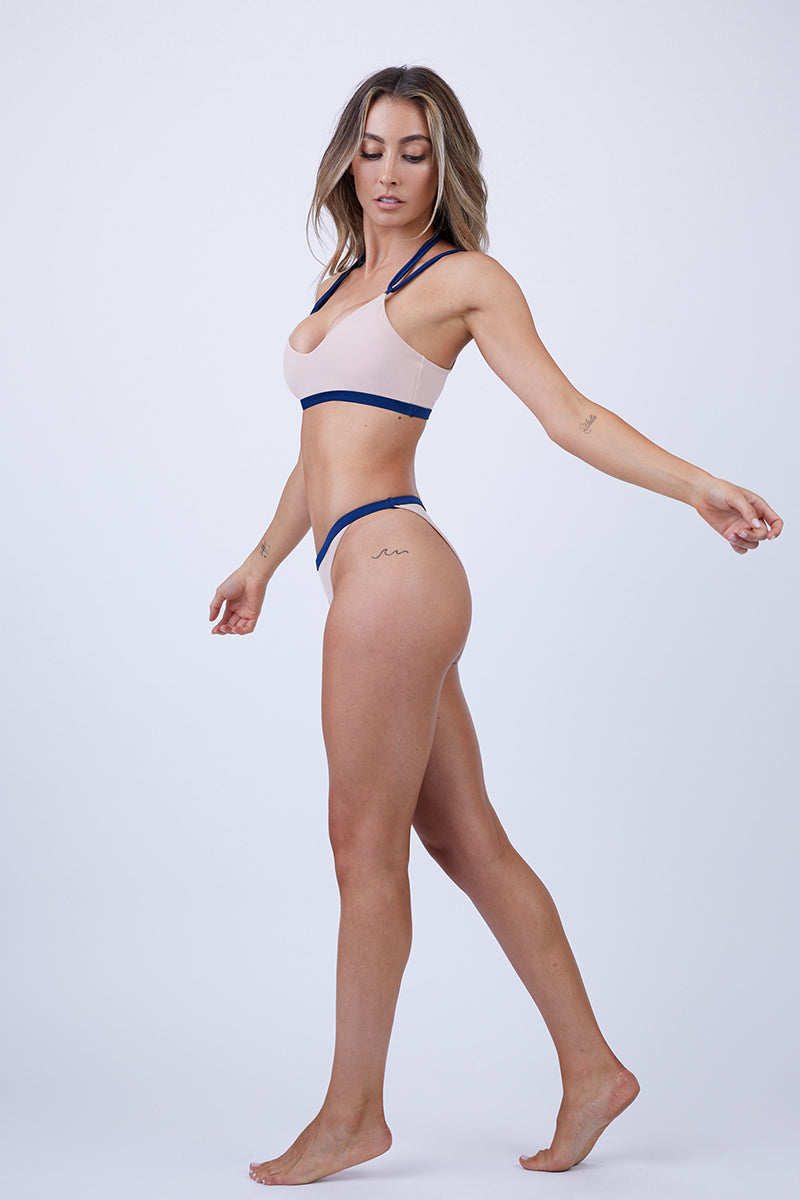Kata Latin High Cut Bikini Bottom - Royal Blue/Tan