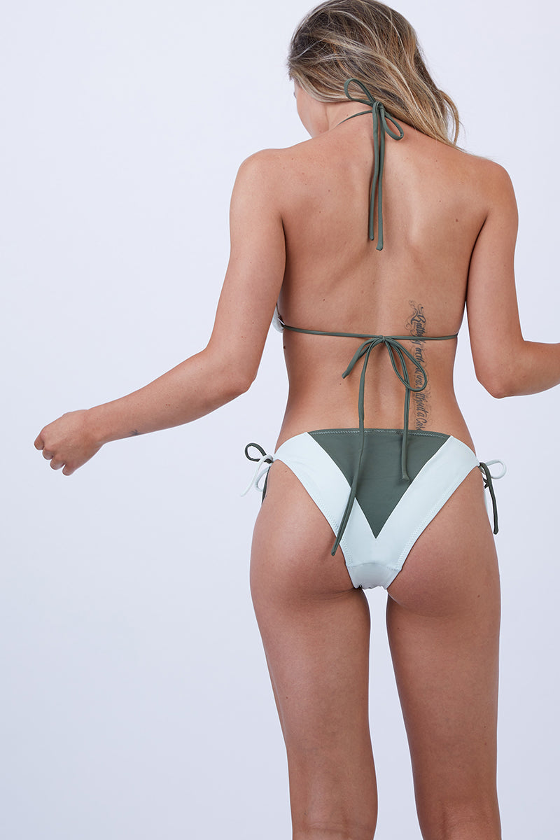 Tortola Color Block Tie Side Bikini Bottom - Mojito Green/White