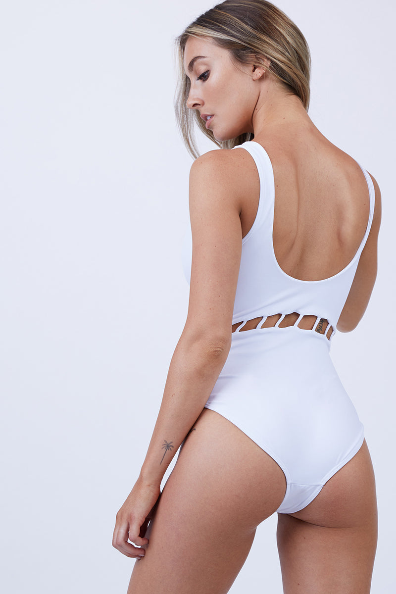 Jade Full Cut Out One Piece Swimsuit - White