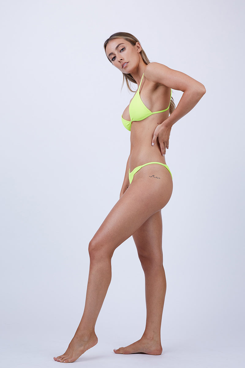 Willa String Side Skimpy Bikini Bottom - Neon Lemon Drop Yellow