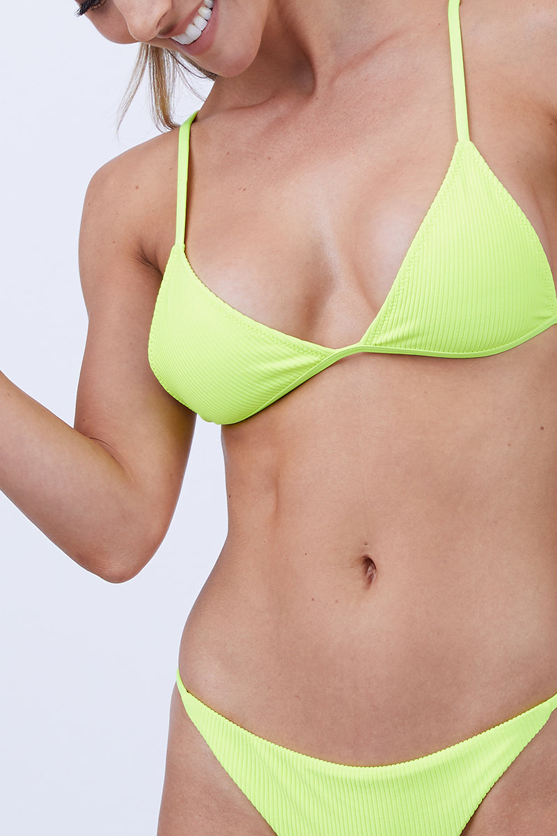 caa4641c1e5 ... FRANKIES BIKINIS Chase Ribbed Triangle Bikini Top - Neon Lemon Drop  Yellow - undefined undefined