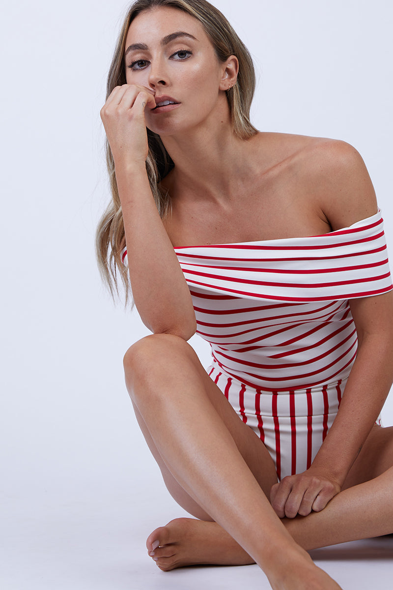 The Vera Off Shoulder One Piece Swimsuit - Red Breton