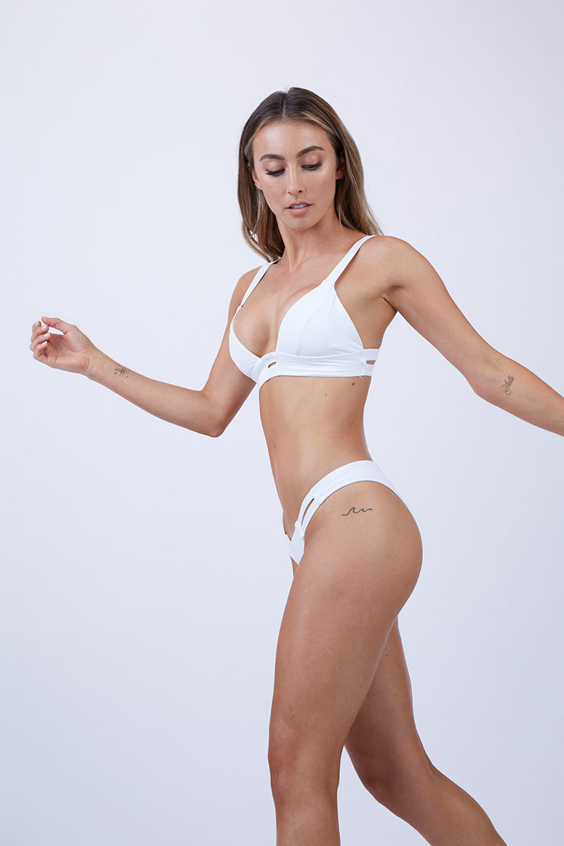 Neutra Side Cut Out Hipster Bikini Bottom - White