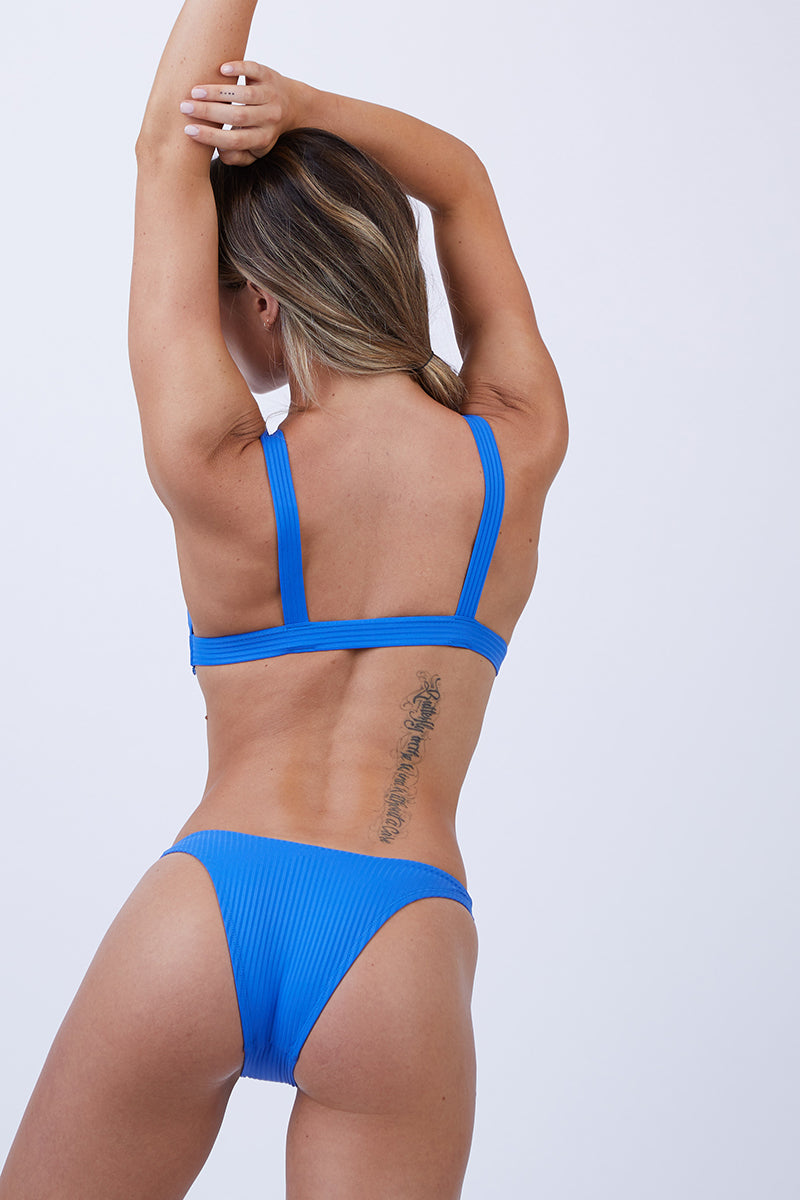 California Ribbed High Cut Bikini Bottom - Beach Blue