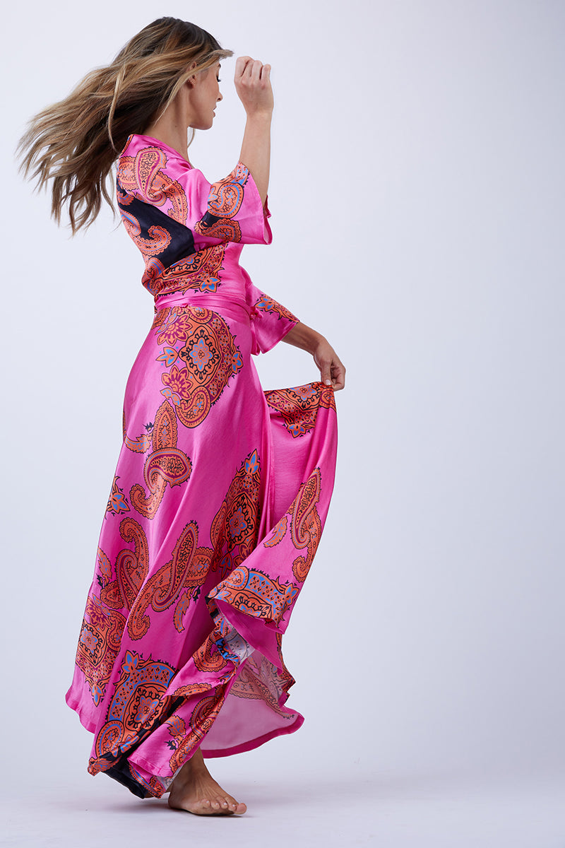 Witching Adjustable Wrap Skirt - Pink Scarf Print