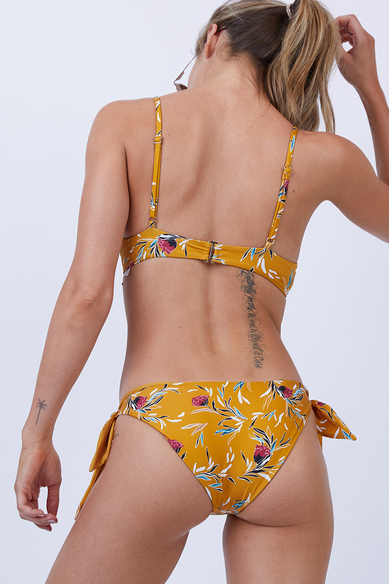 Jacey Tie Side Bikini Bottom - Yellow Floral Print