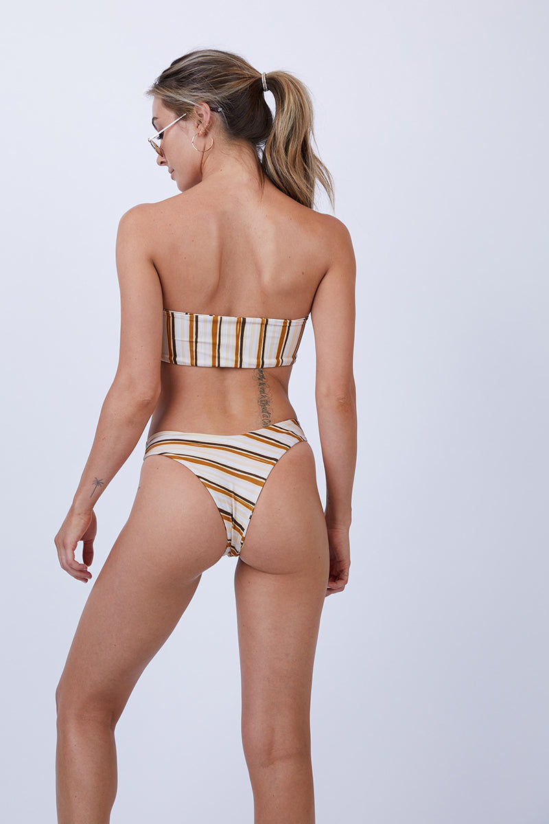 Amanda High Cut Cheeky Bikini Bottom - Retro Stripe Print