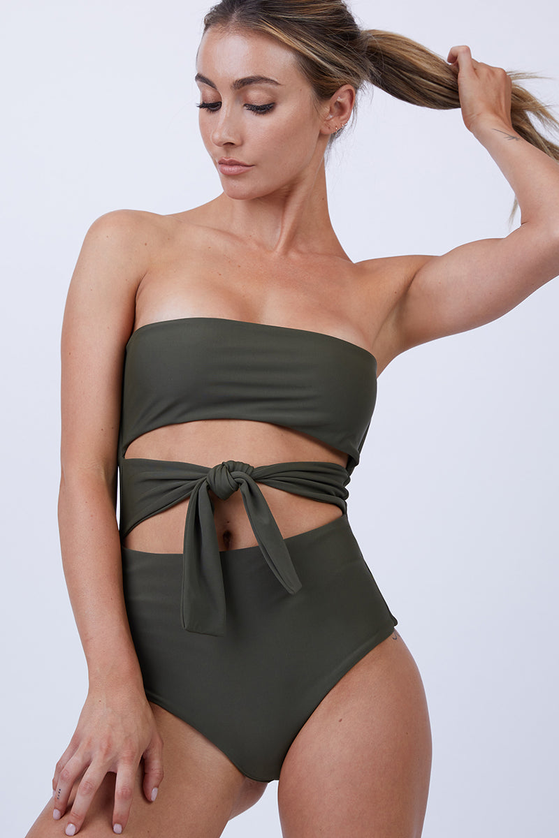 Bianca Strapless Front Tie Center Cut Out One Piece Swimsuit - Army Green