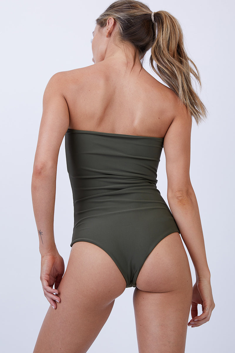 821db1135f753 ... GILLIA Bianca Center Front Tie One Piece Swimsuit - Army - undefined  undefined