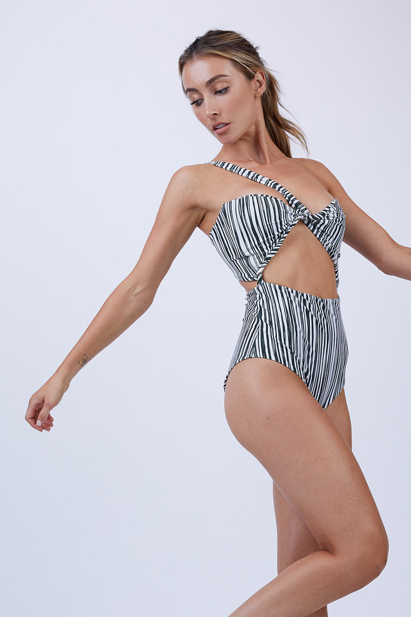Bruna One Shoulder Cut Out One Piece Swimsuit - Monochrome Stripe Print