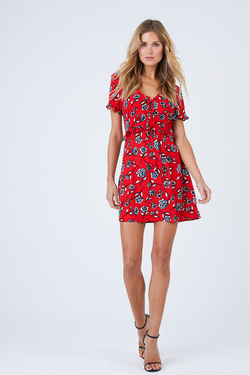 Terrace Short Sleeve Dress - Red Floral