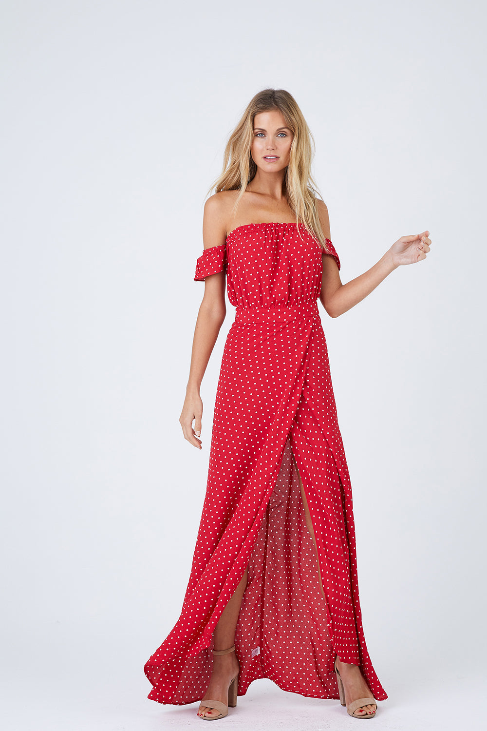 Bella Off The Shoulder Maxi Dress - Cherry Dots