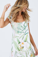 Floral Tropical Print Scoop Neck Summer Viscose Spaghetti Strap Short Dress With Ruffles