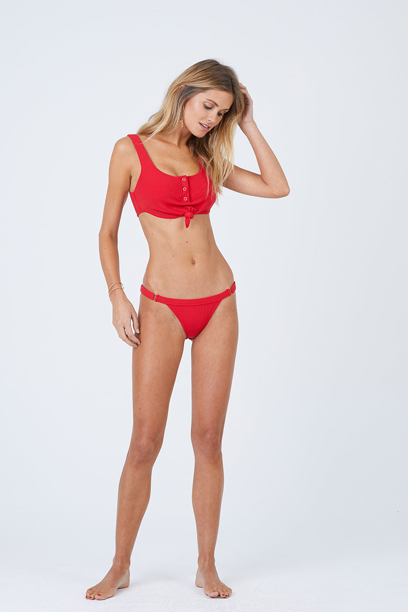 Ribbed Button Front Knot Bralette Bikini Top - Red