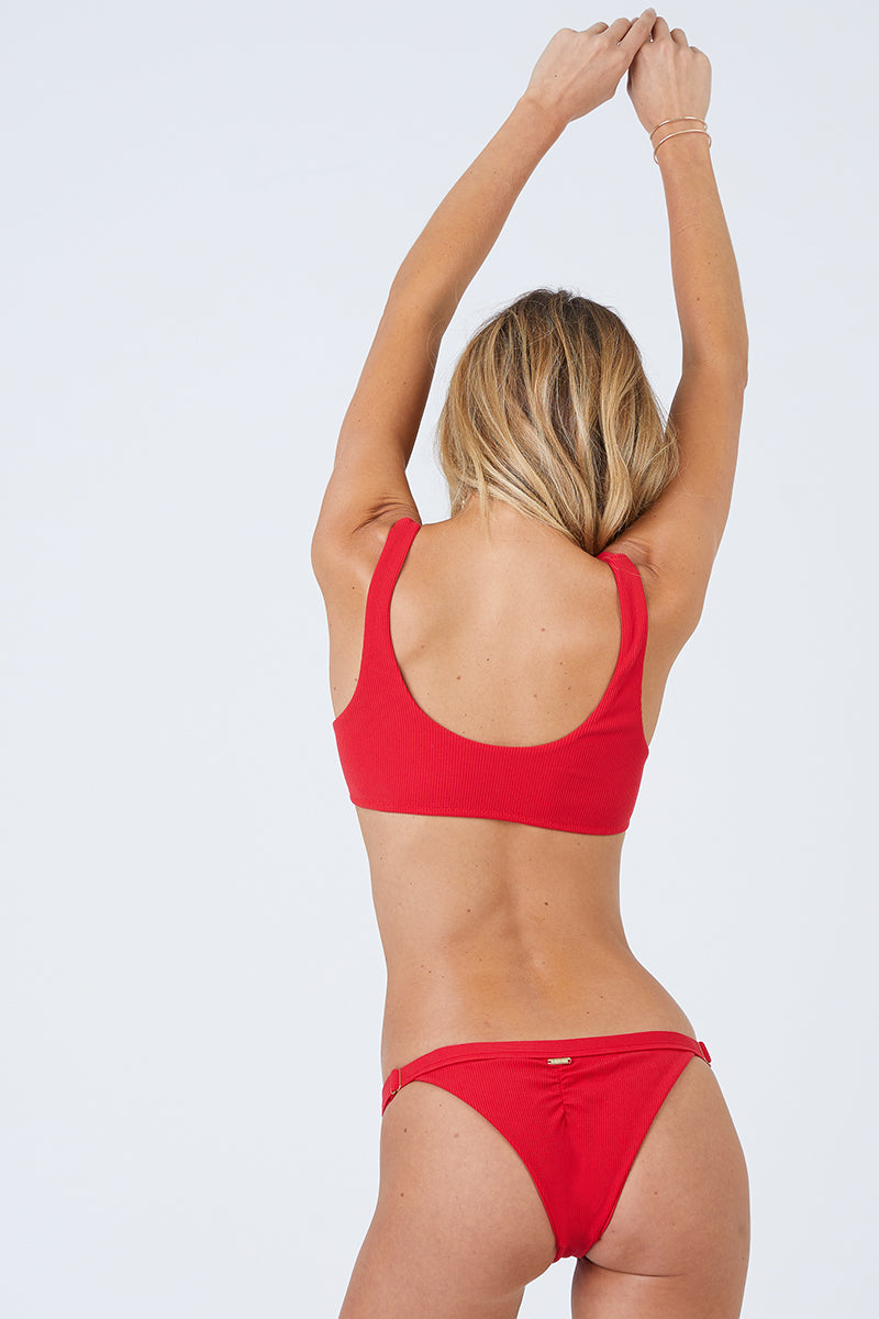 Ribbed Cheeky Ruched Bikini Bottom - Red