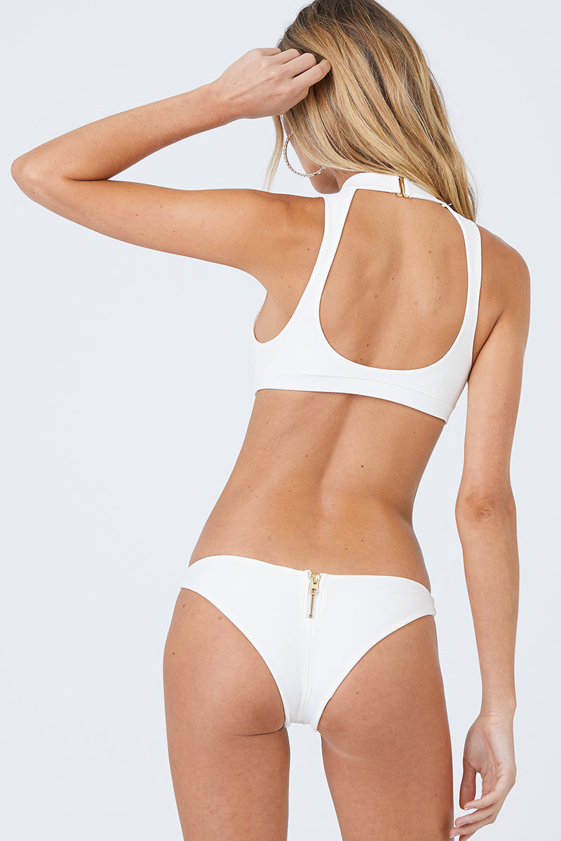 e84014380fb ... BEACH BUNNY Zoey High Neck Zipper Front Bikini Top - Ivory White -  undefined undefined
