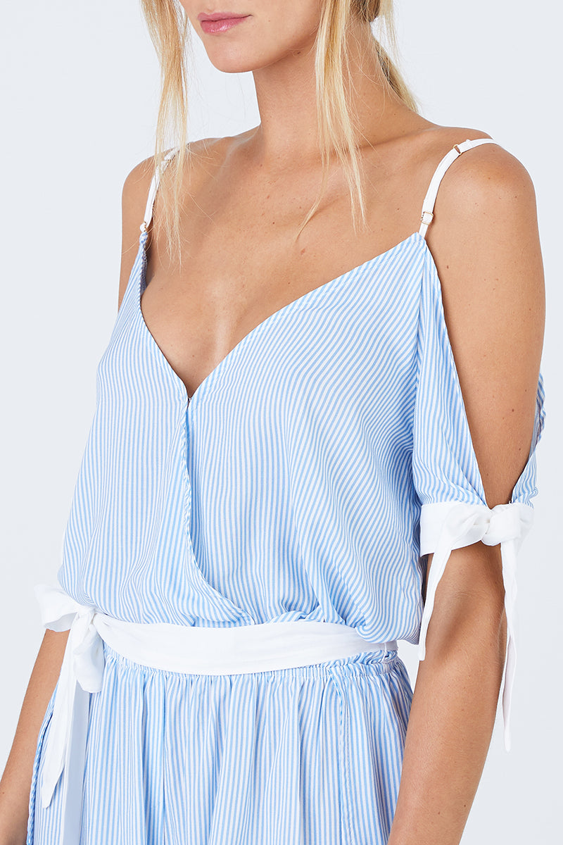 d8ba0be16aa ... BEACH BUNNY Lola Off The Shoulder Romper - Riviera Blue Stripe Print -  undefined undefined
