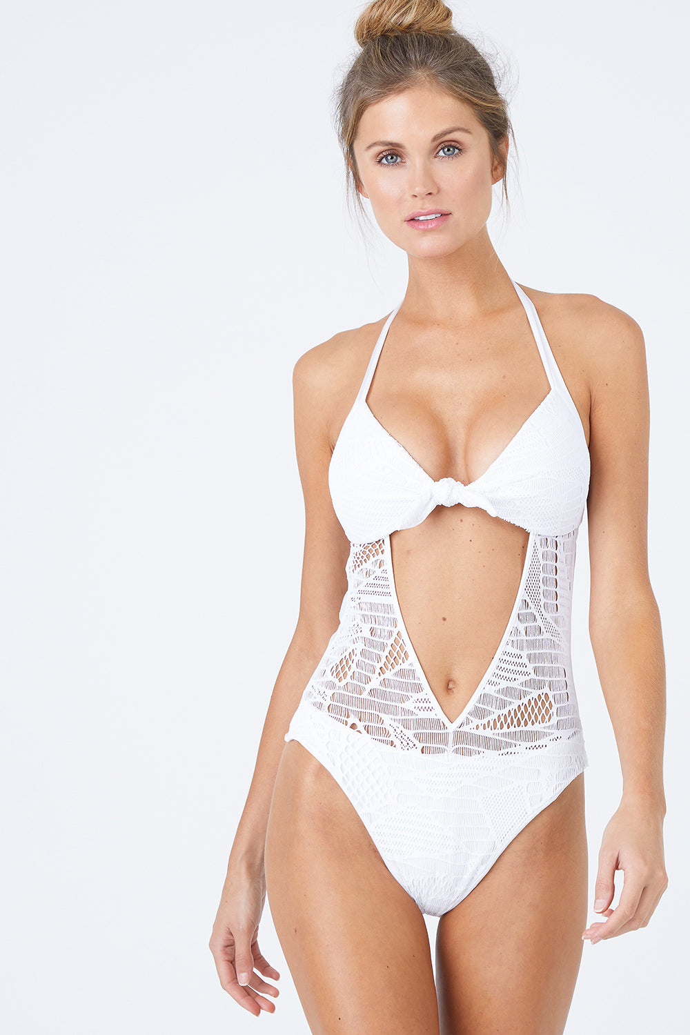 Hemingway Lace Front Knot Cut Out One Piece Swimsuit - White