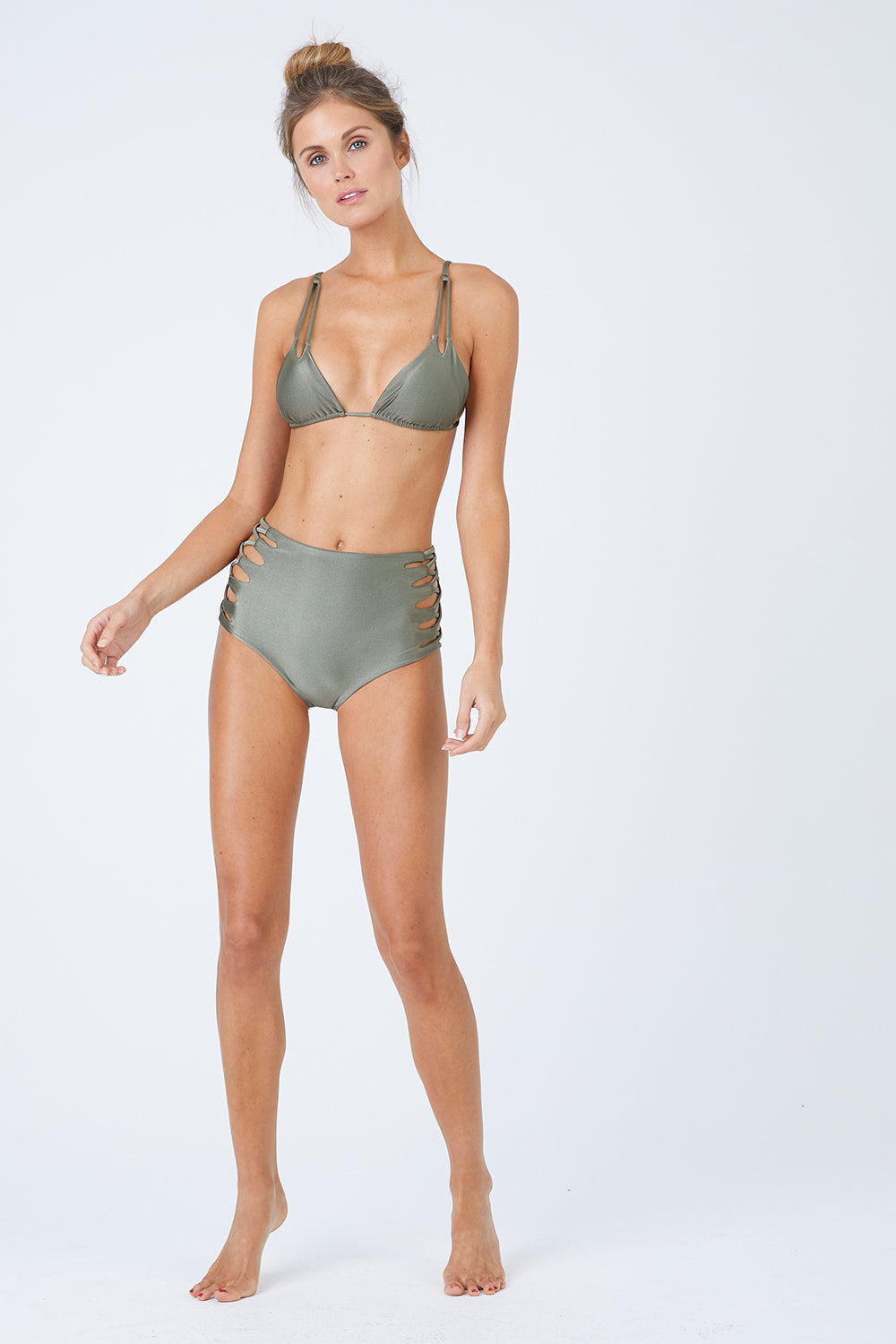 Marmara Triangle Bikini Top - Sparkly Green