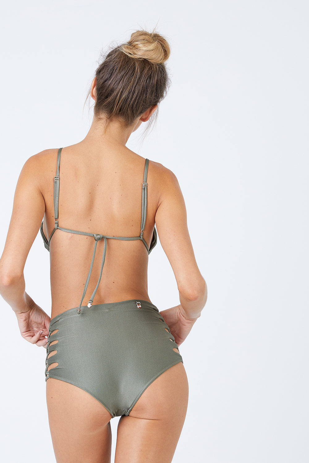 Lace Up High Waist Bikini Bottom - Sparkly Green