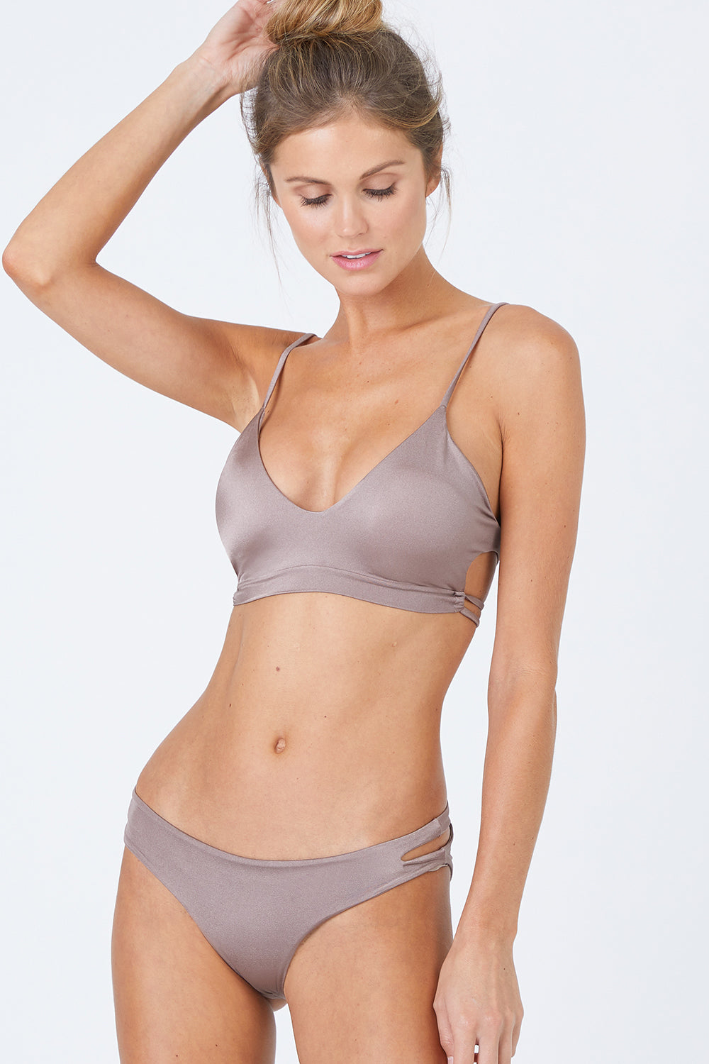 Pacific Cut Out Bralette Bikini Top - Sparkly Taupe