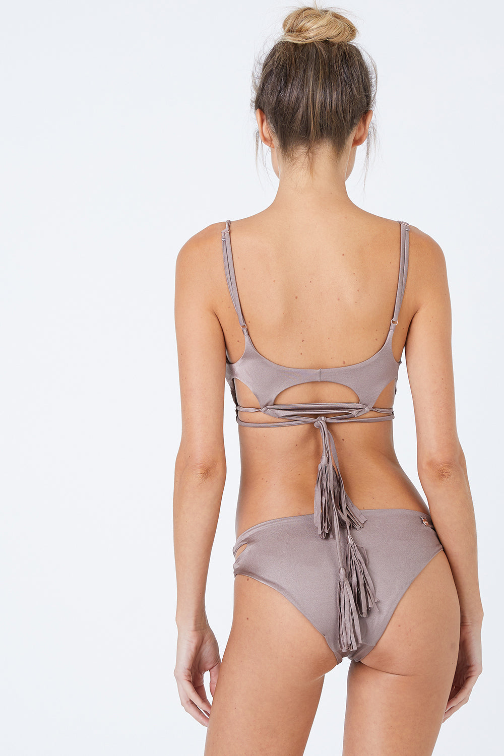 Cut Out Bikini Bottom - Sparkly Taupe Brown