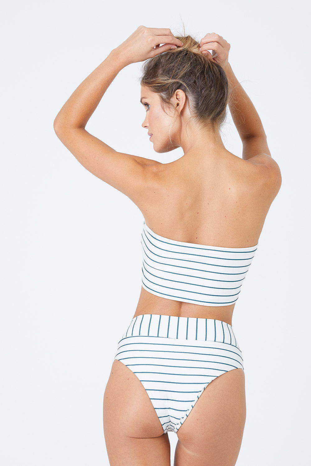 Zion Banded High Waisted Bikini Bottom - Coconut Stripe Print