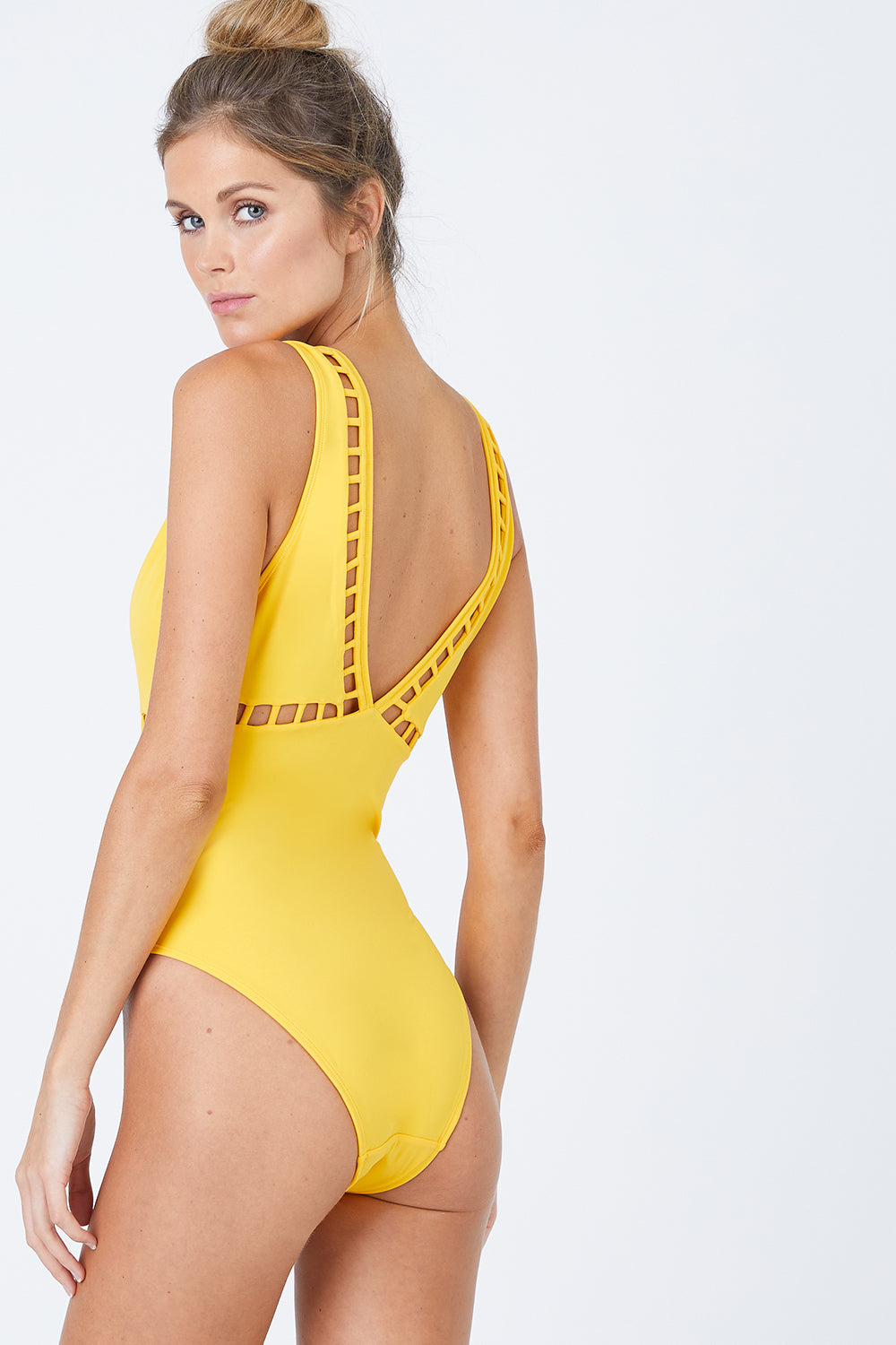 51bd1f8880 ... OYE SWIMWEAR Ela Plunge Cut Out One Piece Swimsuit - Yellow - undefined  undefined